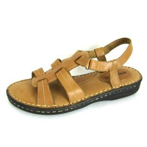 MINNETONKA Slingback Sandals 11 Womens Camel Brown